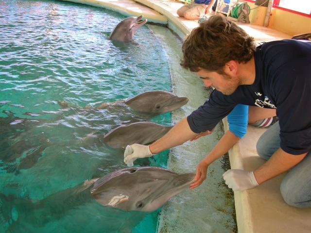 Eric collecting blow at the Baltimore Aquarium