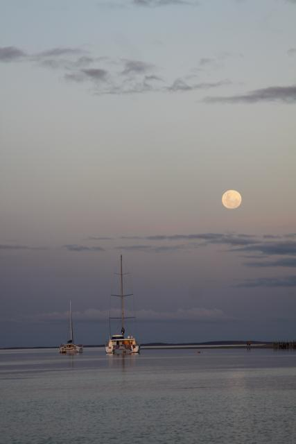 Boats under moon